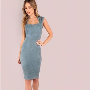 Blue Suede Bodycon Dress SHEIN